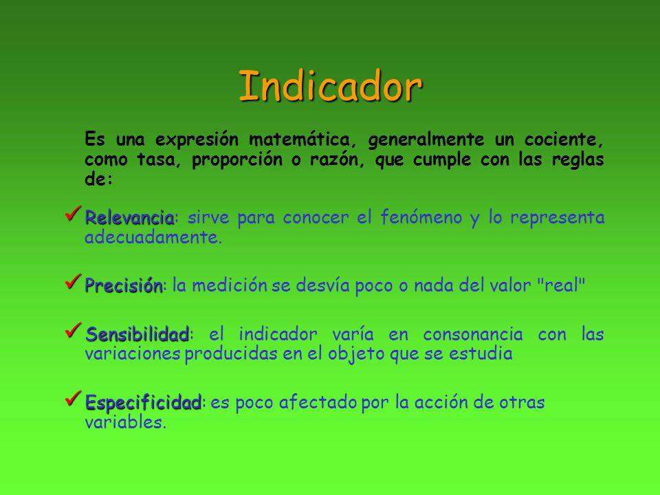 Indicador Es una expresión matemática, generalmente un cociente, como tasa, proporción o razón, que cumple con las reglas de: Relevancia Relevancia: s