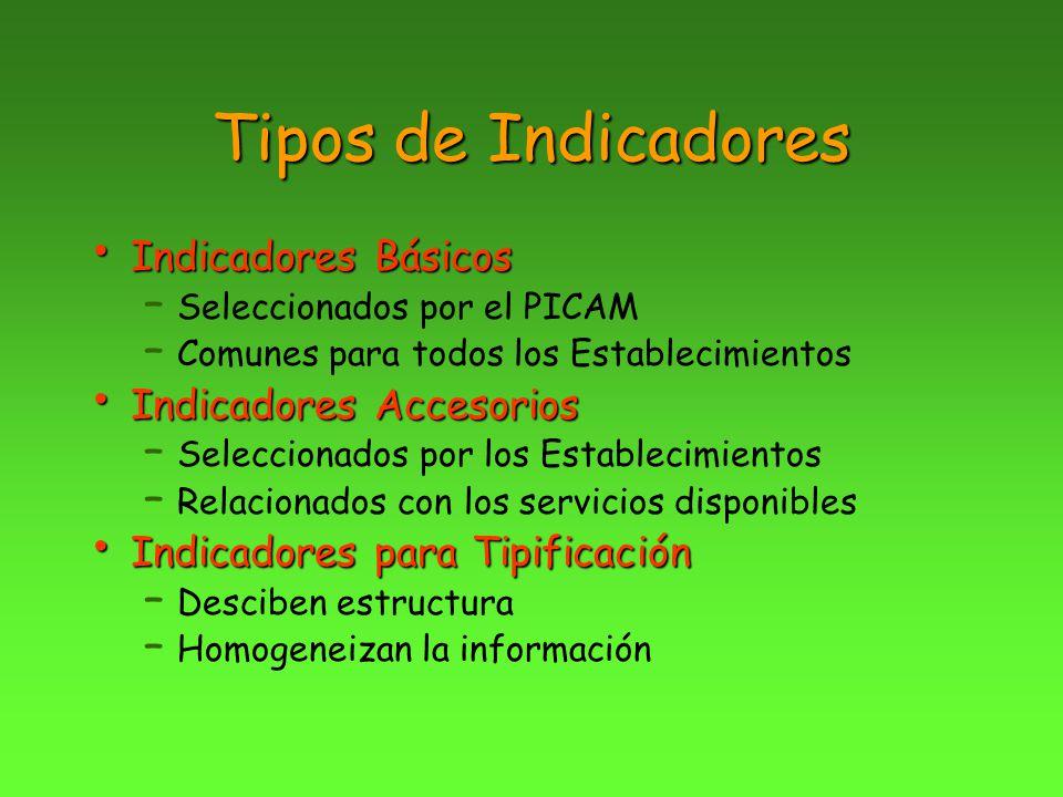 Tipos de Indicadores Indicadores Básicos Indicadores Básicos – Seleccionados por el PICAM – Comunes para todos los Establecimientos Indicadores Acceso