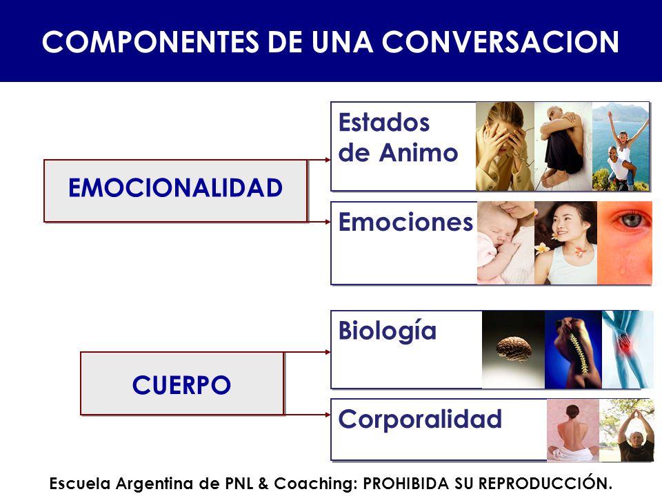 Estados de Animo Estados de Animo Emociones CUERPO Biología Corporalidad COMPONENTES DE UNA CONVERSACION EMOCIONALIDAD Escuela Argentina de PNL & Coac
