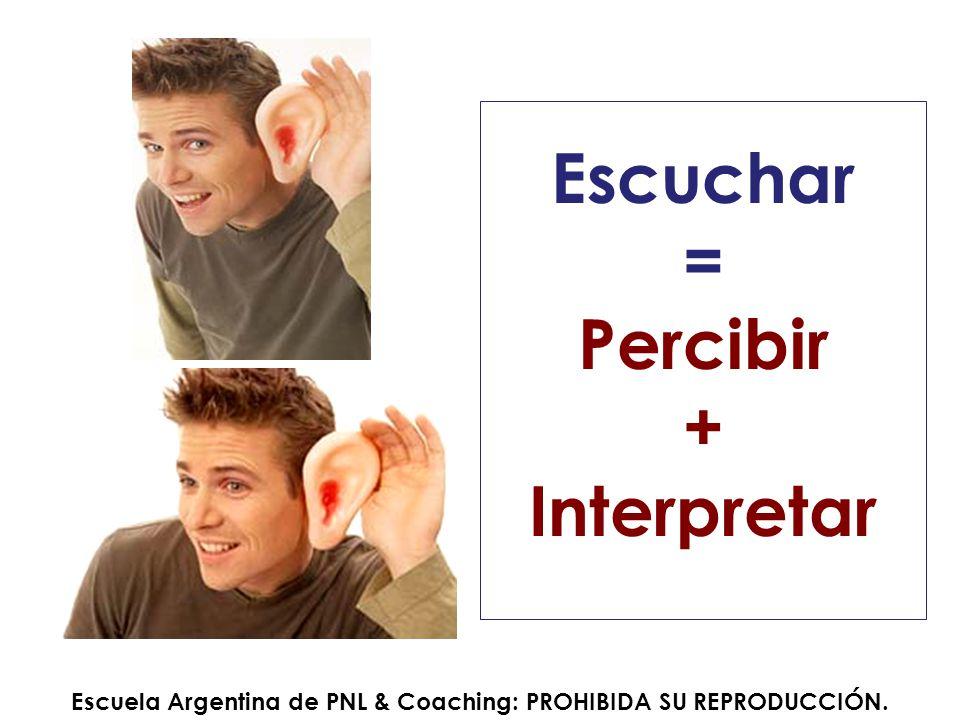 Escuchar = Percibir + Interpretar Escuela Argentina de PNL & Coaching: PROHIBIDA SU REPRODUCCIÓN.