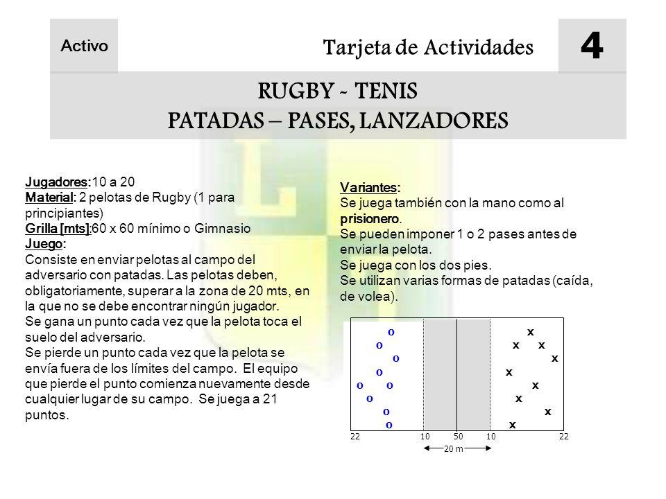 Tarjeta de Actividades 4 RUGBY - TENIS PATADAS – PASES, LANZADORES Jugadores:10 a 20 Material: 2 pelotas de Rugby (1 para principiantes) Grilla [mts]:60 x 60 mínimo o Gimnasio Juego: Consiste en enviar pelotas al campo del adversario con patadas.