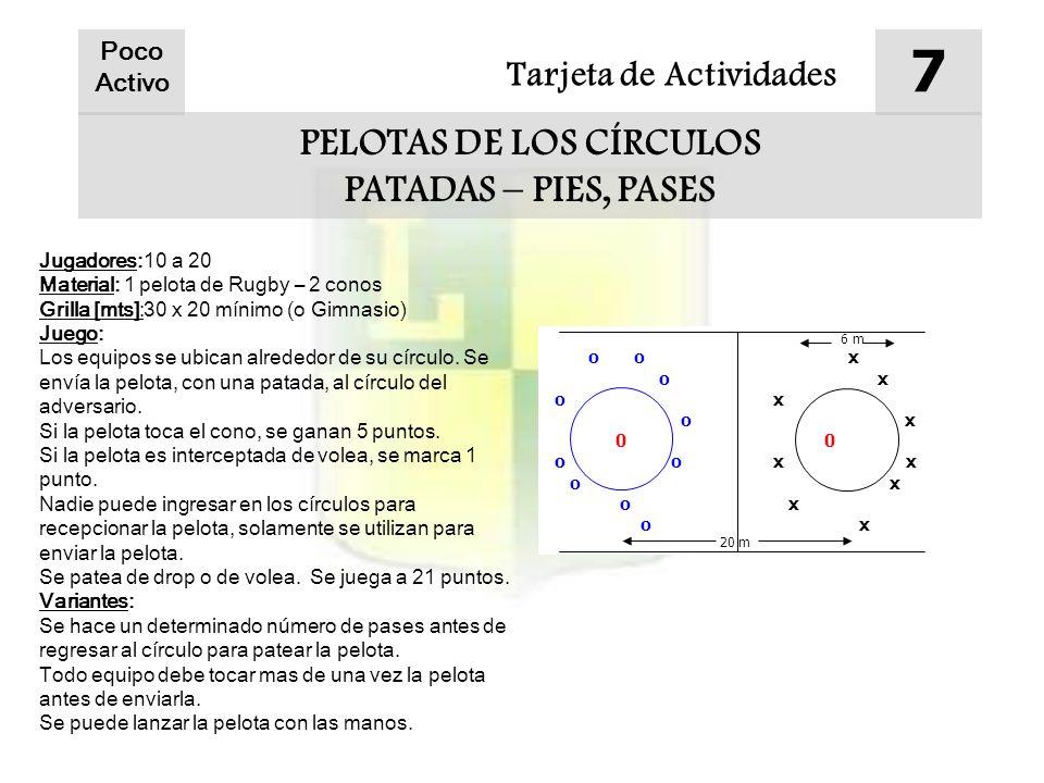 Tarjeta de Actividades 7 PELOTAS DE LOS CÍRCULOS PATADAS – PIES, PASES Jugadores:10 a 20 Material: 1 pelota de Rugby – 2 conos Grilla [mts]:30 x 20 mínimo (o Gimnasio) Juego: Los equipos se ubican alrededor de su círculo.