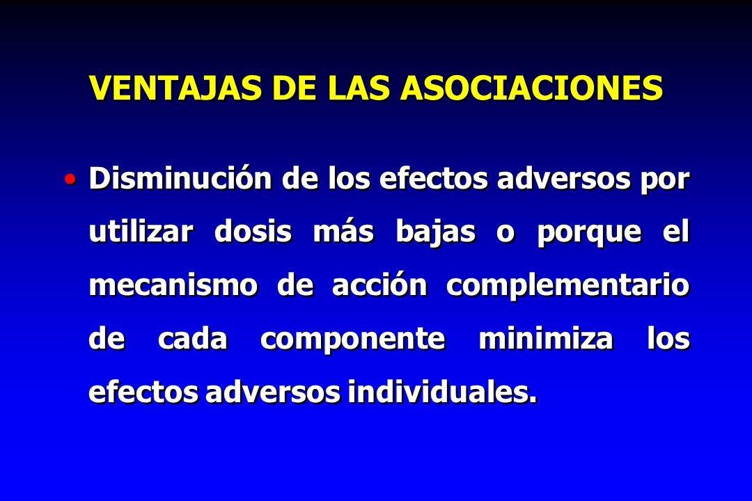 VENTAJAS DE LAS ASOCIACIONES Disminución de los efectos adversos por utilizar dosis más bajas o porque el mecanismo de acción complementario de cada c