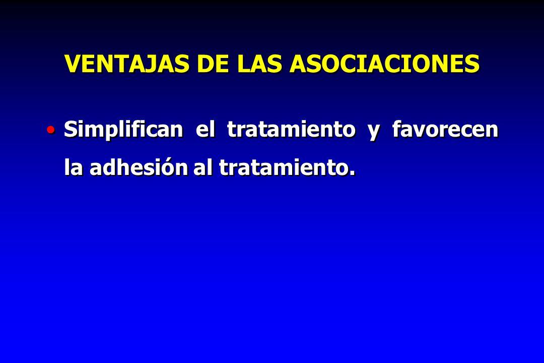 VENTAJAS DE LAS ASOCIACIONES Simplifican el tratamiento y favorecen la adhesión al tratamiento.