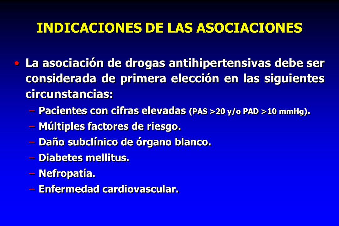 INDICACIONES DE LAS ASOCIACIONES La asociación de drogas antihipertensivas debe ser considerada de primera elección en las siguientes circunstancias: