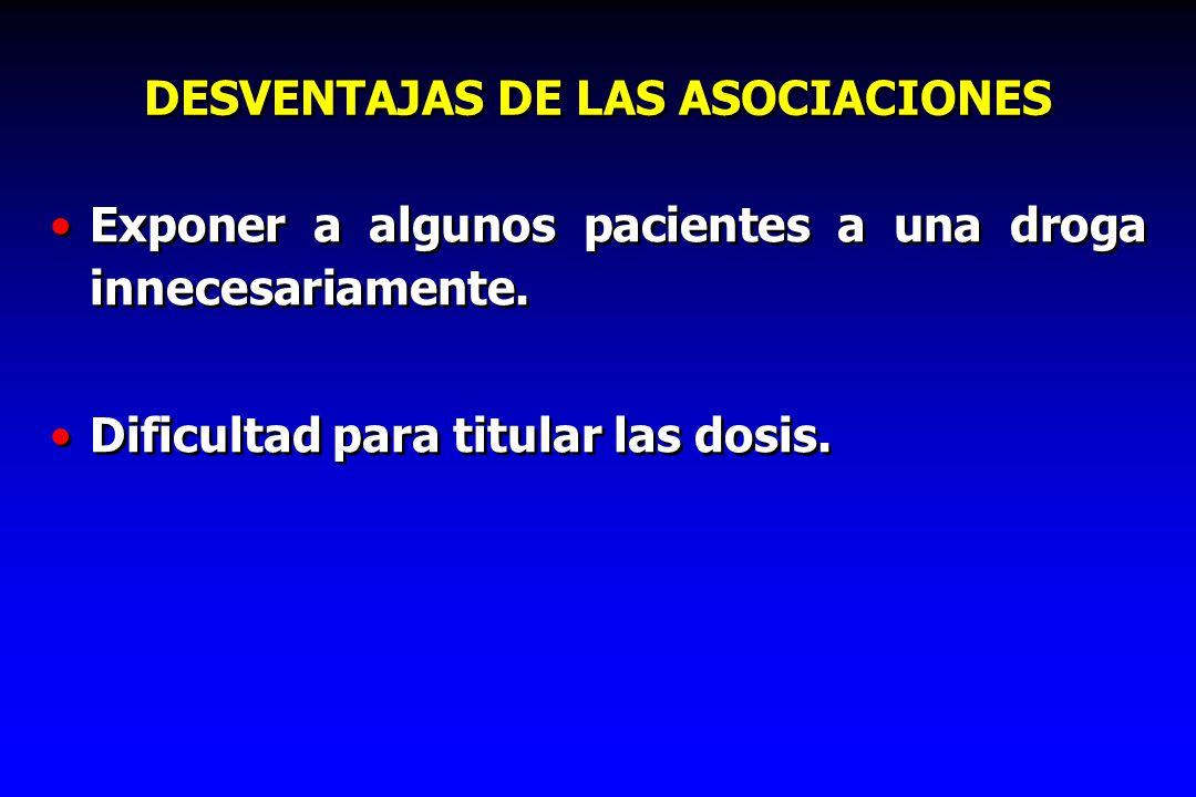 DESVENTAJAS DE LAS ASOCIACIONES Exponer a algunos pacientes a una droga innecesariamente. Dificultad para titular las dosis. Exponer a algunos pacient