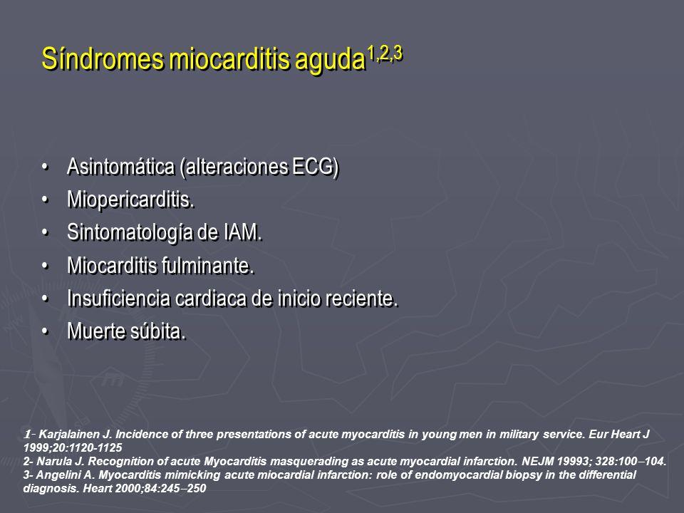 Síndromes miocarditis aguda 1,2,3 Asintomática (alteraciones ECG) Miopericarditis. Sintomatología de IAM. Miocarditis fulminante. Insuficiencia cardia