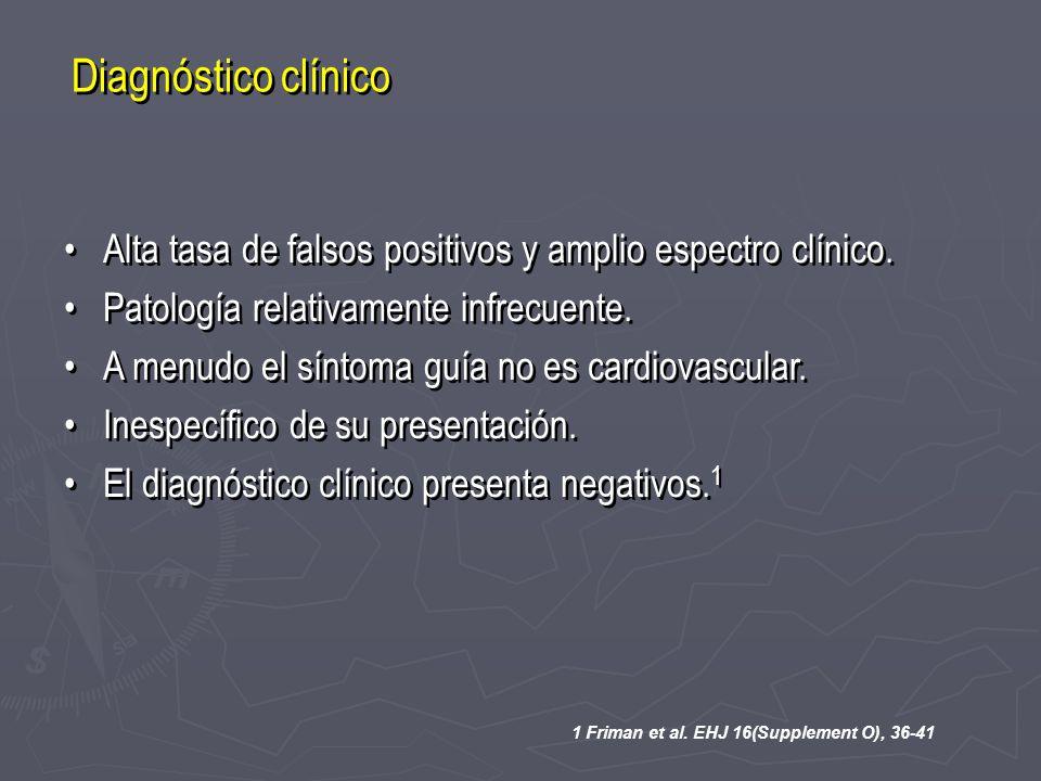 Diagnóstico clínico Alta tasa de falsos positivos y amplio espectro clínico. Patología relativamente infrecuente. A menudo el síntoma guía no es cardi