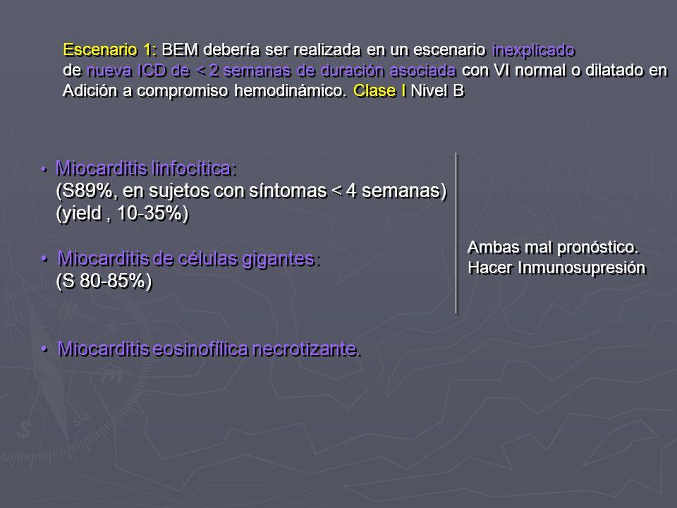 Escenario 1: BEM debería ser realizada en un escenario inexplicado de nueva ICD de < 2 semanas de duración asociada con VI normal o dilatado en Adició