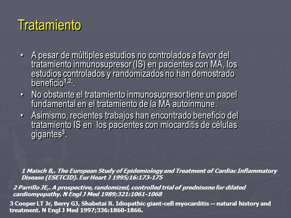 Tratamiento A pesar de múltiples estudios no controlados a favor del tratamiento inmunosupresor (IS) en pacientes con MA, los estudios controlados y r