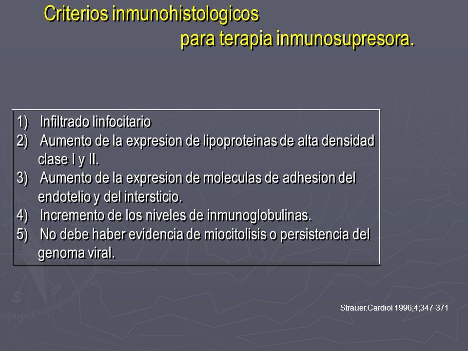 Criterios inmunohistologicos para terapia inmunosupresora. Criterios inmunohistologicos para terapia inmunosupresora. 1)Infiltrado linfocitario 2)Aume