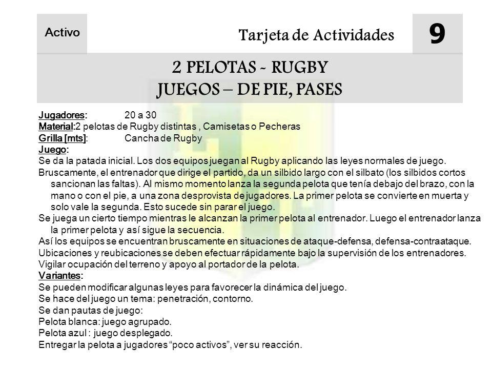Tarjeta de Actividades 9 2 PELOTAS - RUGBY JUEGOS – DE PIE, PASES Activo Jugadores:20 a 30 Material:2 pelotas de Rugby distintas, Camisetas o Pecheras Grilla [mts]:Cancha de Rugby Juego: Se da la patada inicial.