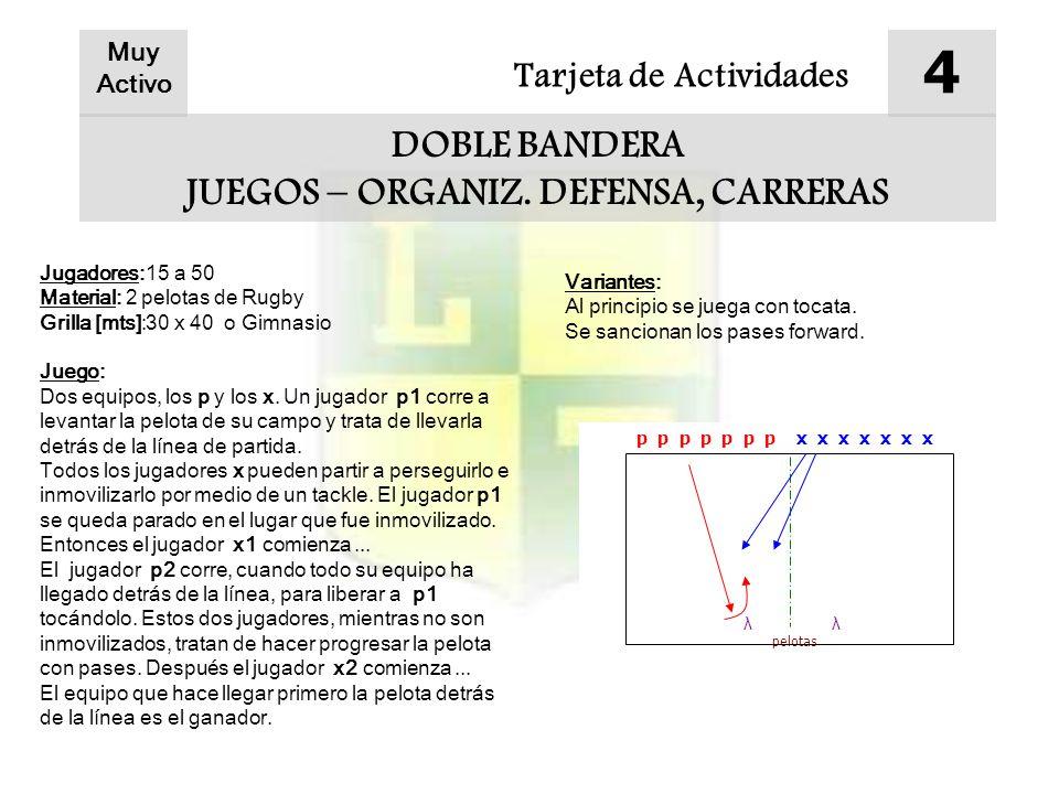 Tarjeta de Actividades 4 DOBLE BANDERA JUEGOS – ORGANIZ.
