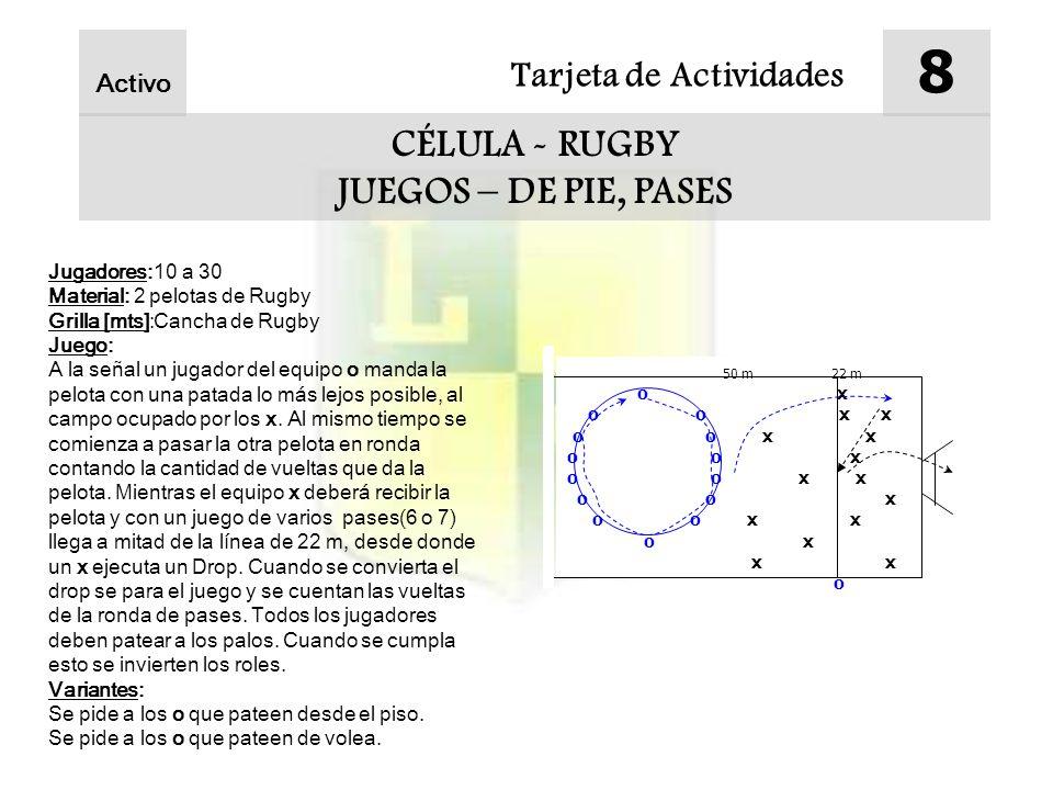 Tarjeta de Actividades 8 CÉLULA - RUGBY JUEGOS – DE PIE, PASES Activo Jugadores:10 a 30 Material: 2 pelotas de Rugby Grilla [mts]:Cancha de Rugby Juego: A la señal un jugador del equipo o manda la pelota con una patada lo más lejos posible, al campo ocupado por los x.