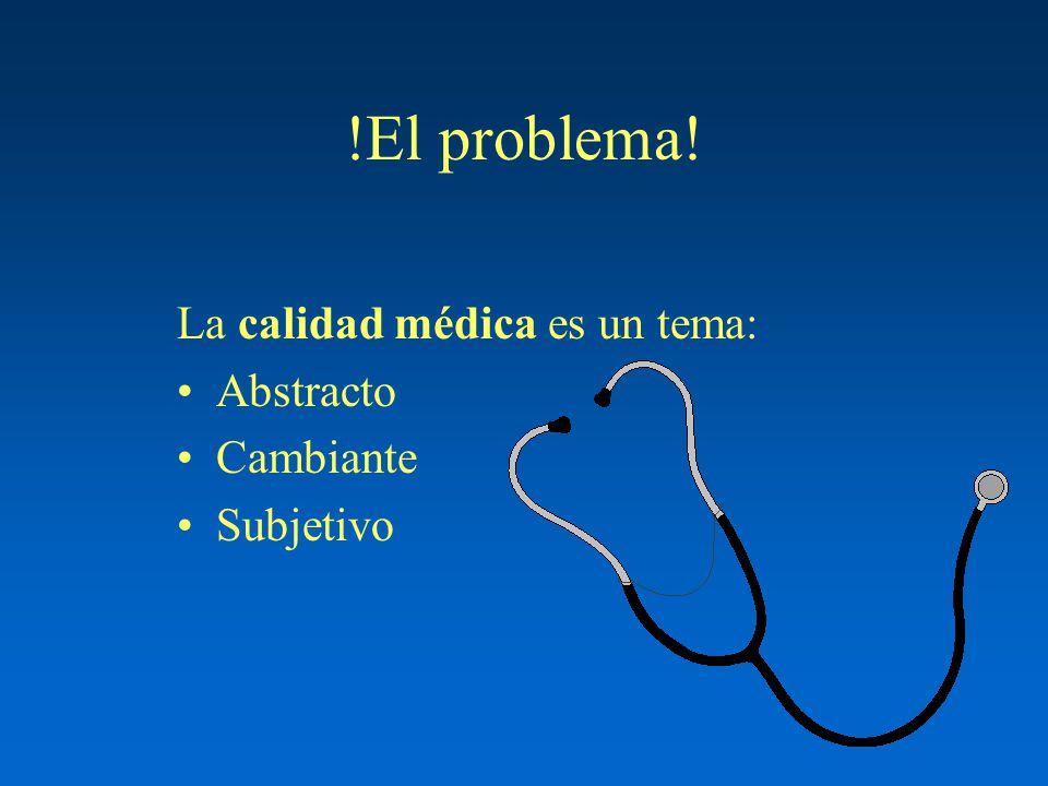!El problema! La calidad médica es un tema: Abstracto Cambiante Subjetivo