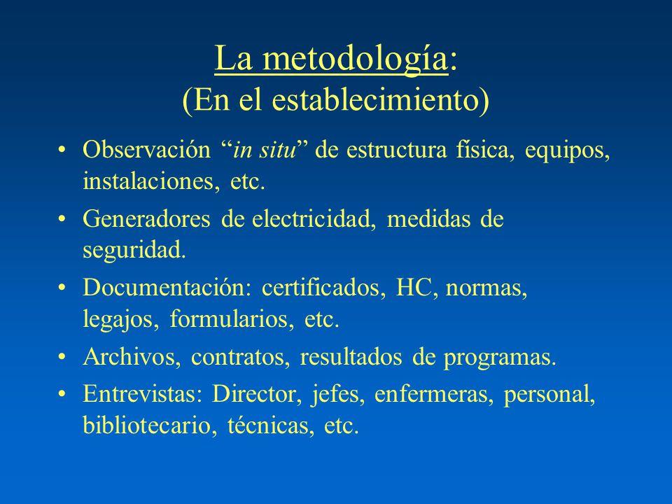 La metodología: (En el establecimiento) Observación in situ de estructura física, equipos, instalaciones, etc. Generadores de electricidad, medidas de