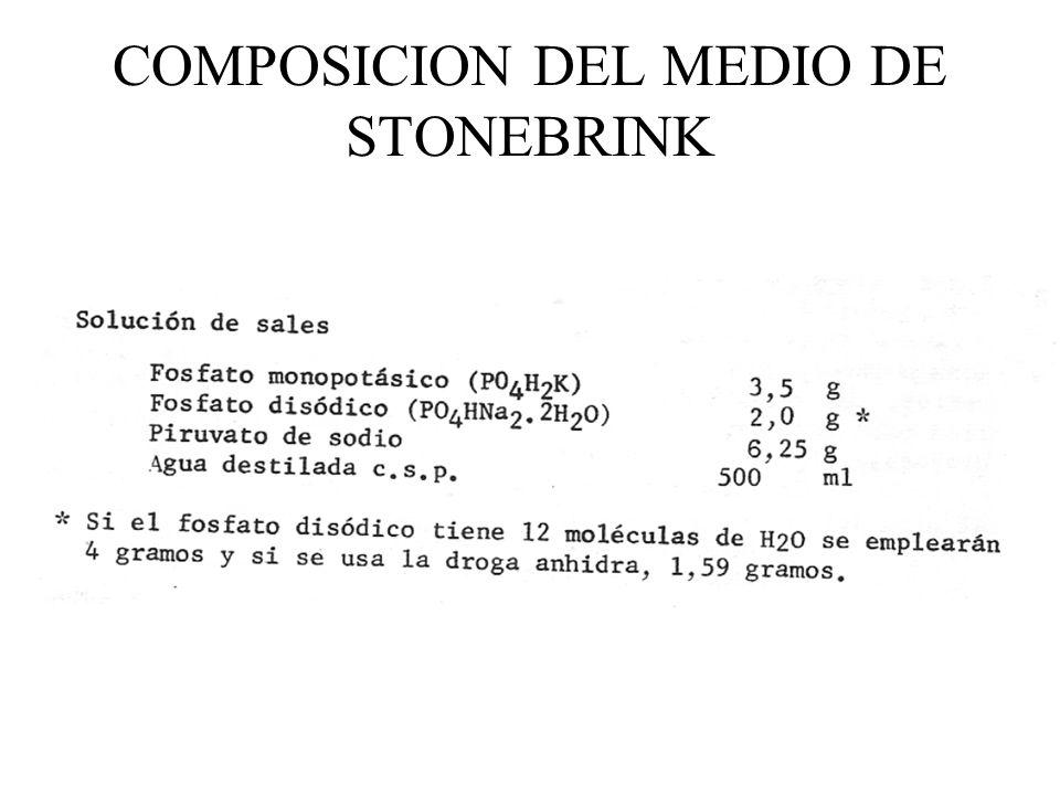 COMPOSICION DEL MEDIO DE STONEBRINK