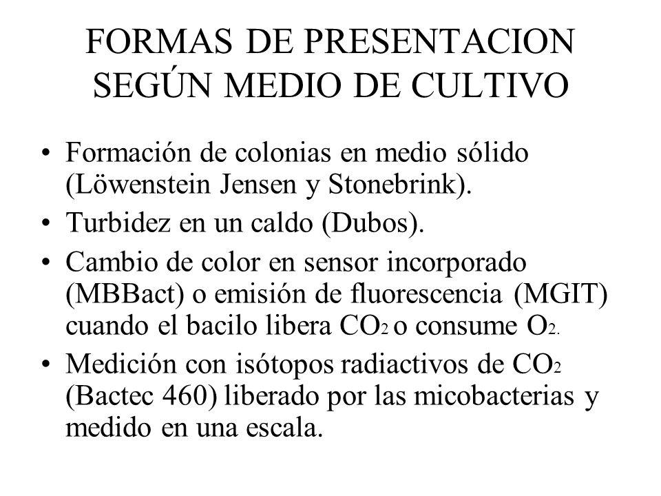 FORMAS DE PRESENTACION SEGÚN MEDIO DE CULTIVO Formación de colonias en medio sólido (Löwenstein Jensen y Stonebrink). Turbidez en un caldo (Dubos). Ca