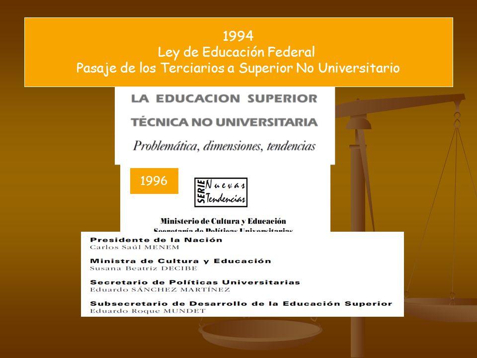 1994 Ley de Educación Federal Pasaje de los Terciarios a Superior No Universitario 1996