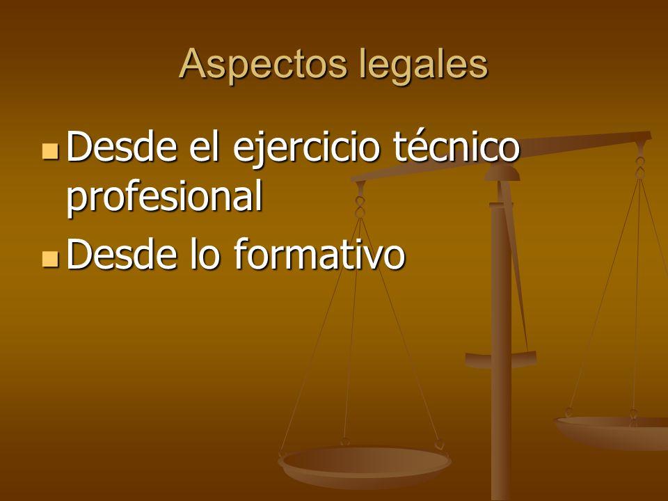 Aspectos legales Desde el ejercicio técnico profesional Desde el ejercicio técnico profesional Desde lo formativo Desde lo formativo