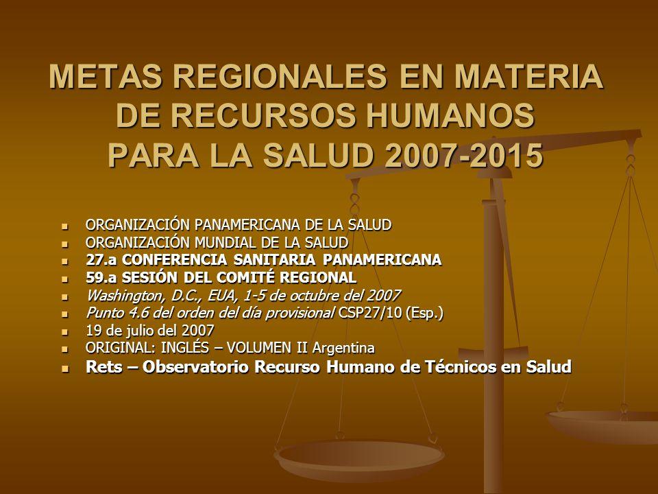 METAS REGIONALES EN MATERIA DE RECURSOS HUMANOS PARA LA SALUD 2007-2015 ORGANIZACIÓN PANAMERICANA DE LA SALUD ORGANIZACIÓN PANAMERICANA DE LA SALUD ORGANIZACIÓN MUNDIAL DE LA SALUD ORGANIZACIÓN MUNDIAL DE LA SALUD 27.a CONFERENCIA SANITARIA PANAMERICANA 27.a CONFERENCIA SANITARIA PANAMERICANA 59.a SESIÓN DEL COMITÉ REGIONAL 59.a SESIÓN DEL COMITÉ REGIONAL Washington, D.C., EUA, 1-5 de octubre del 2007 Washington, D.C., EUA, 1-5 de octubre del 2007 Punto 4.6 del orden del día provisional CSP27/10 (Esp.) Punto 4.6 del orden del día provisional CSP27/10 (Esp.) 19 de julio del 2007 19 de julio del 2007 ORIGINAL: INGLÉS – VOLUMEN II Argentina ORIGINAL: INGLÉS – VOLUMEN II Argentina Rets – Observatorio Recurso Humano de Técnicos en Salud Rets – Observatorio Recurso Humano de Técnicos en Salud