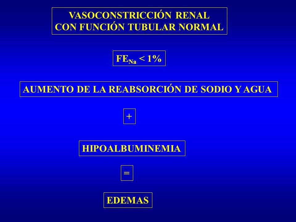 VASOCONSTRICCIÓN RENAL CON FUNCIÓN TUBULAR NORMAL FE Na < 1% AUMENTO DE LA REABSORCIÓN DE SODIO Y AGUA + HIPOALBUMINEMIA = EDEMAS