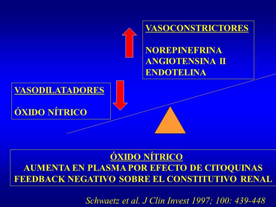 VASOCONSTRICTORES NOREPINEFRINA ANGIOTENSINA II ENDOTELINA VASODILATADORES ÓXIDO NÍTRICO AUMENTA EN PLASMA POR EFECTO DE CITOQUINAS FEEDBACK NEGATIVO