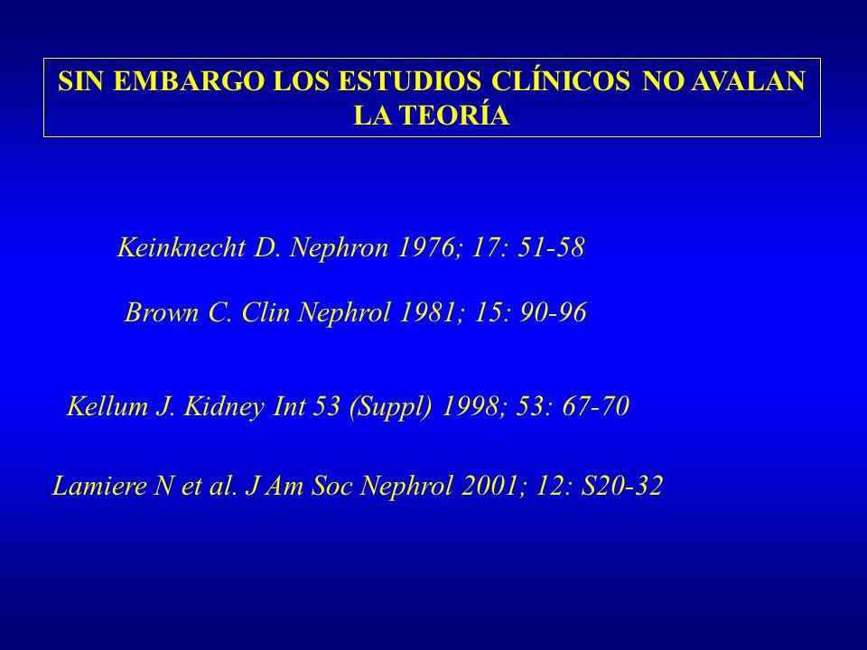 SIN EMBARGO LOS ESTUDIOS CLÍNICOS NO AVALAN LA TEORÍA Lamiere N et al. J Am Soc Nephrol 2001; 12: S20-32 Kellum J. Kidney Int 53 (Suppl) 1998; 53: 67-
