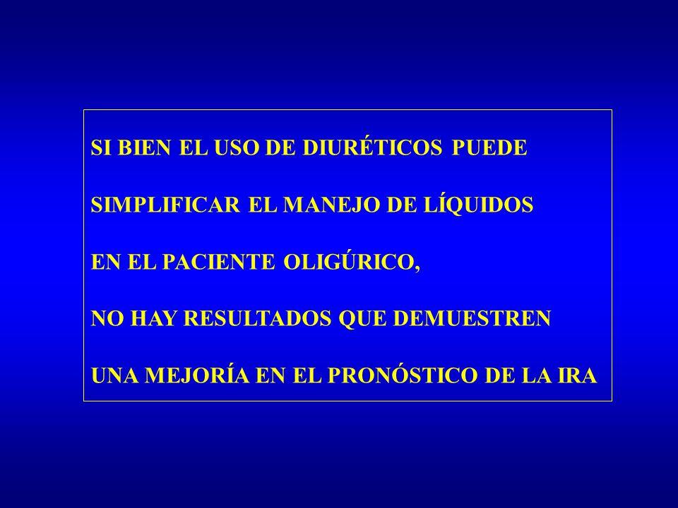 SI BIEN EL USO DE DIURÉTICOS PUEDE SIMPLIFICAR EL MANEJO DE LÍQUIDOS EN EL PACIENTE OLIGÚRICO, NO HAY RESULTADOS QUE DEMUESTREN UNA MEJORÍA EN EL PRON