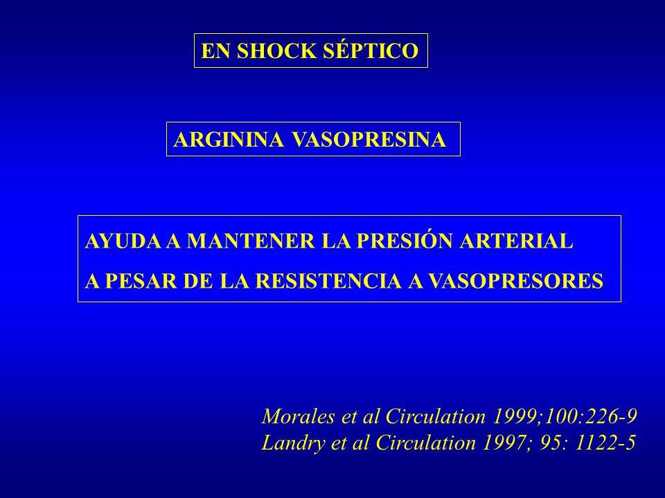 ARGININA VASOPRESINA AYUDA A MANTENER LA PRESIÓN ARTERIAL A PESAR DE LA RESISTENCIA A VASOPRESORES EN SHOCK SÉPTICO Morales et al Circulation 1999;100