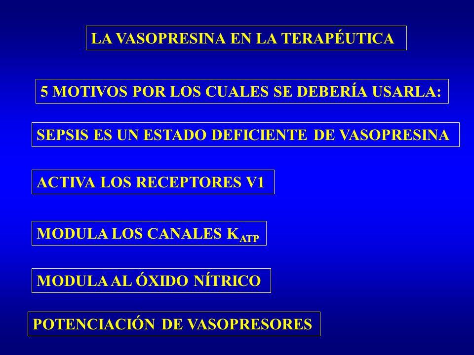 LA VASOPRESINA EN LA TERAPÉUTICA 5 MOTIVOS POR LOS CUALES SE DEBERÍA USARLA: ACTIVA LOS RECEPTORES V1 MODULA LOS CANALES K ATP MODULA AL ÓXIDO NÍTRICO