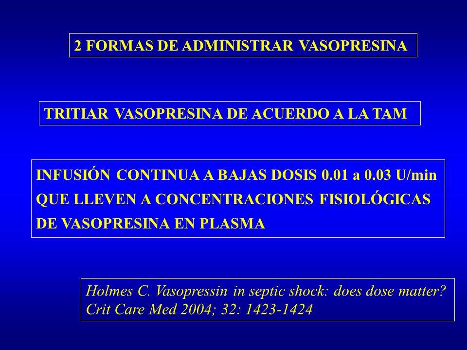 2 FORMAS DE ADMINISTRAR VASOPRESINA TRITIAR VASOPRESINA DE ACUERDO A LA TAM INFUSIÓN CONTINUA A BAJAS DOSIS 0.01 a 0.03 U/min QUE LLEVEN A CONCENTRACI
