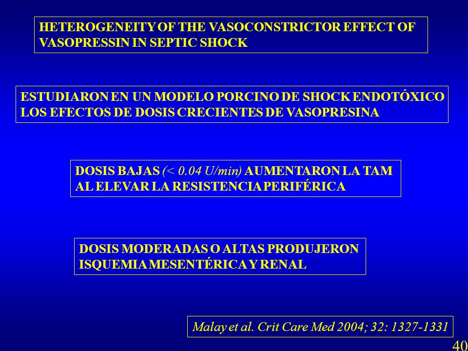 Malay et al. Crit Care Med 2004; 32: 1327-1331 HETEROGENEITY OF THE VASOCONSTRICTOR EFFECT OF VASOPRESSIN IN SEPTIC SHOCK ESTUDIARON EN UN MODELO PORC