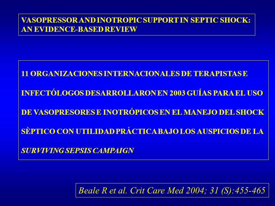 VASOPRESSOR AND INOTROPIC SUPPORT IN SEPTIC SHOCK: AN EVIDENCE-BASED REVIEW Beale R et al. Crit Care Med 2004; 31 (S):455-465 11 ORGANIZACIONES INTERN