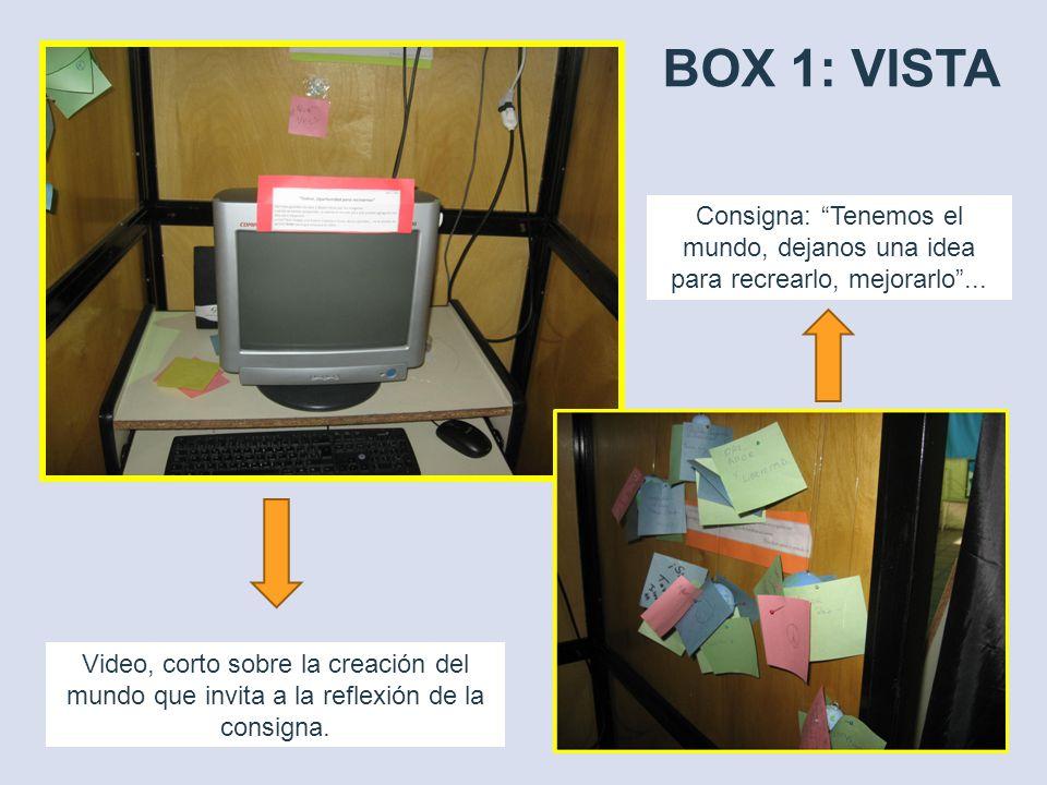 BOX 1: VISTA Video, corto sobre la creación del mundo que invita a la reflexión de la consigna. Consigna: Tenemos el mundo, dejanos una idea para recr