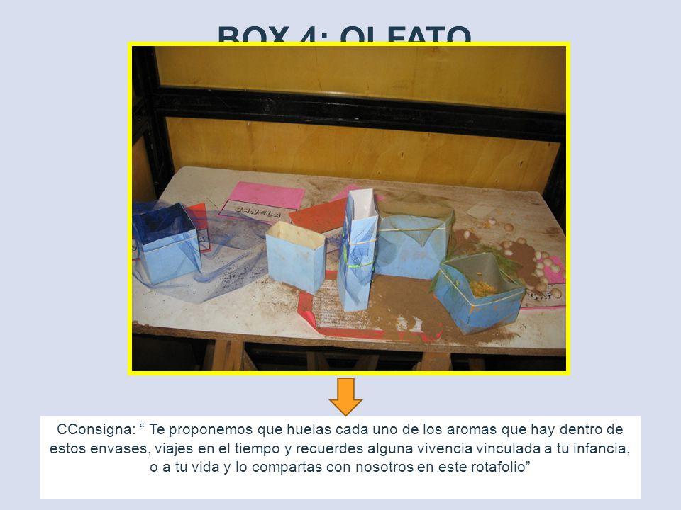 BOX 4: OLFATO CConsigna: Te proponemos que huelas cada uno de los aromas que hay dentro de estos envases, viajes en el tiempo y recuerdes alguna vivencia vinculada a tu infancia, o a tu vida y lo compartas con nosotros en este rotafolio