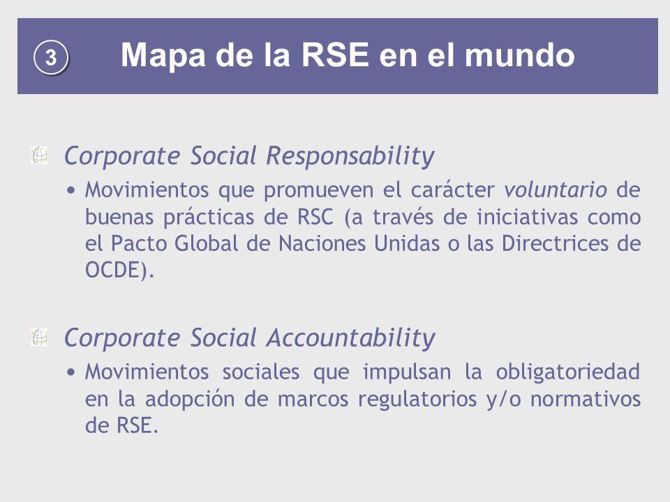 3 3 Mapa de la RSE en el mundo Corporate Social Responsability Movimientos que promueven el carácter voluntario de buenas prácticas de RSC (a través de iniciativas como el Pacto Global de Naciones Unidas o las Directrices de OCDE).