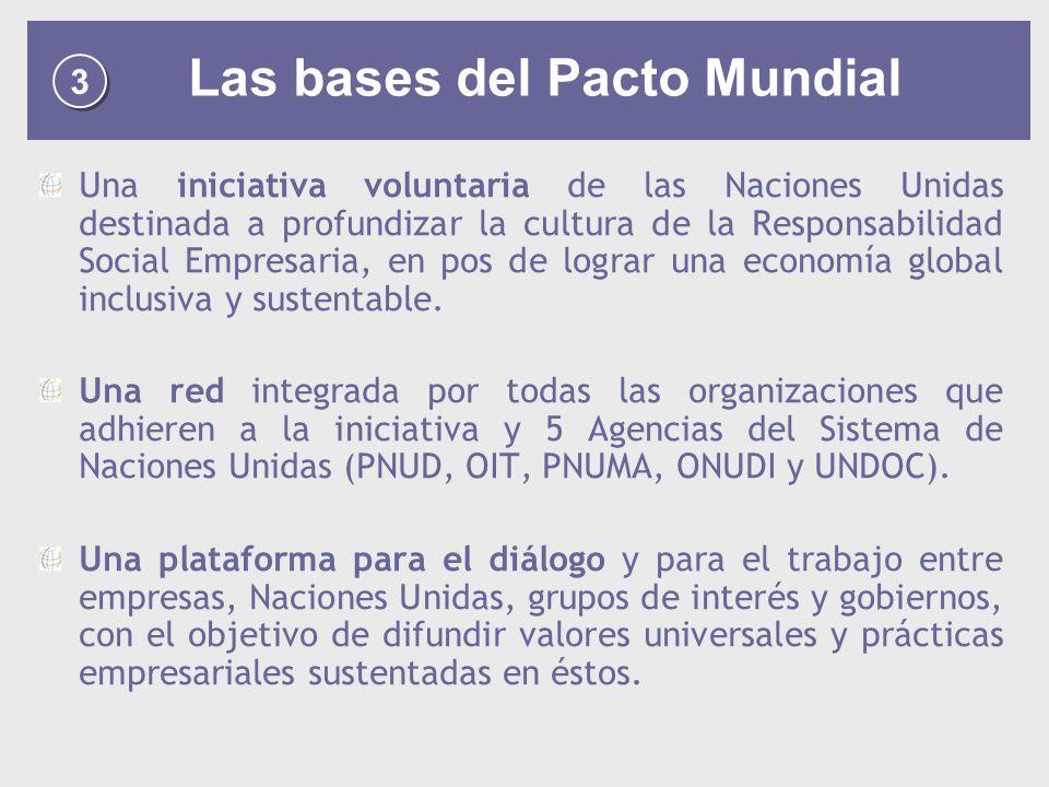 Una iniciativa voluntaria de las Naciones Unidas destinada a profundizar la cultura de la Responsabilidad Social Empresaria, en pos de lograr una economía global inclusiva y sustentable.