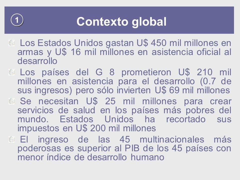 1 1 Contexto global Los Estados Unidos gastan U$ 450 mil millones en armas y U$ 16 mil millones en asistencia oficial al desarrollo Los países del G 8 prometieron U$ 210 mil millones en asistencia para el desarrollo (0.7 de sus ingresos) pero sólo invierten U$ 69 mil millones Se necesitan U$ 25 mil millones para crear servicios de salud en los países más pobres del mundo.
