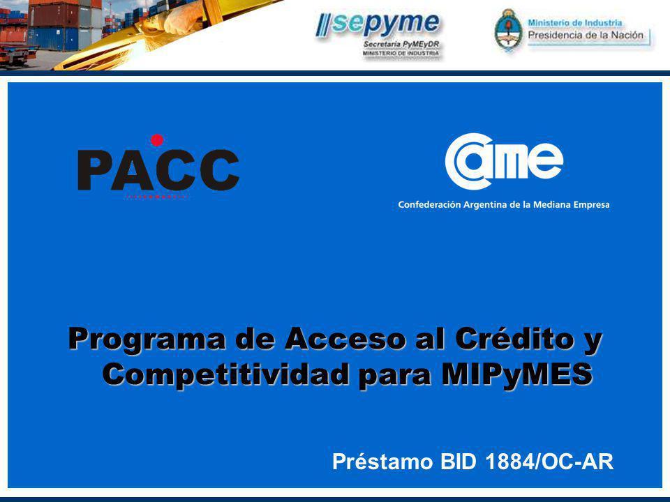 Programa de Acceso al Crédito y Competitividad para MIPyMES Préstamo BID 1884/OC-AR