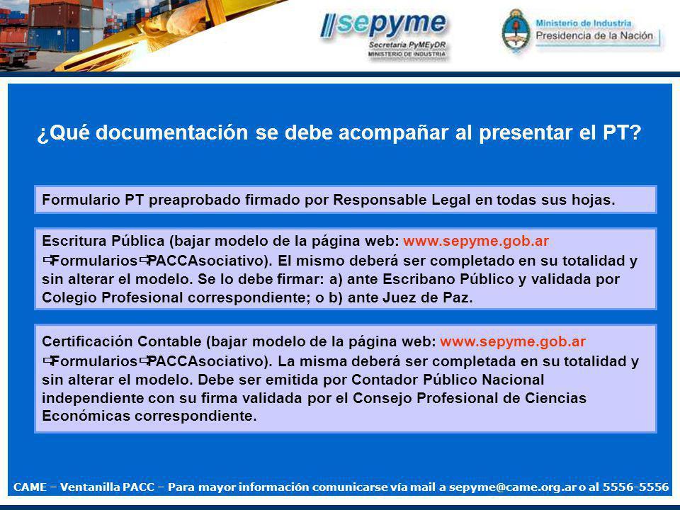 ¿Que documentación se debe acompañar al presentar el PT.
