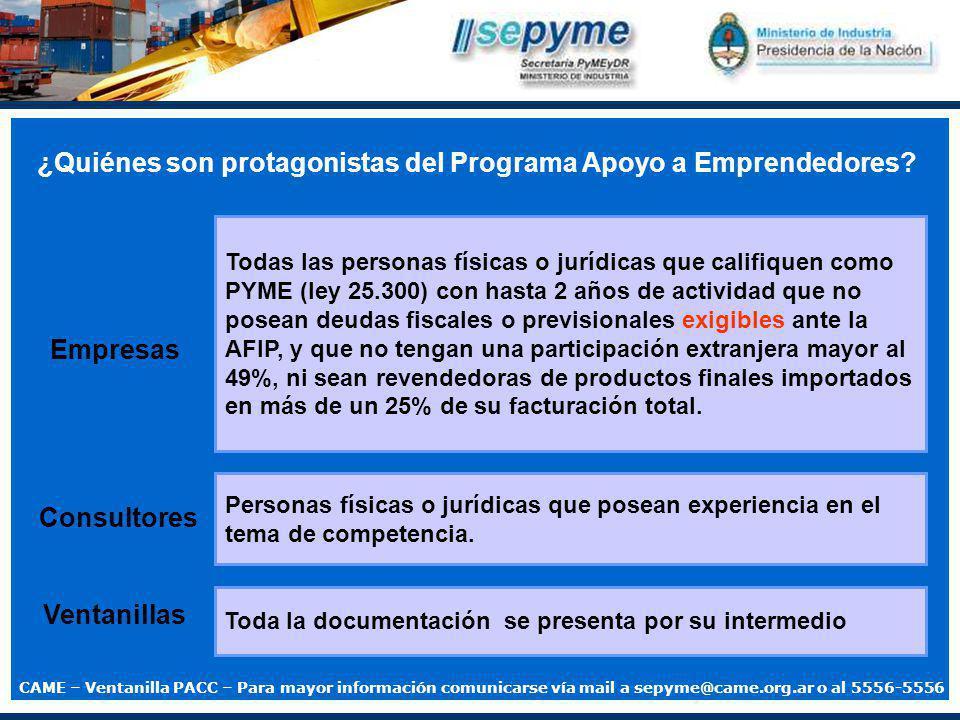 ¿Quiénes son protagonistas del Programa Apoyo a Emprendedores.