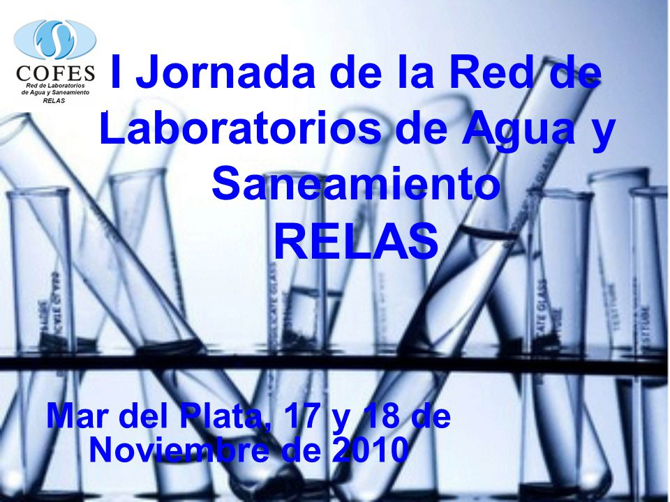 I Jornada de la Red de Laboratorios de Agua y Saneamiento RELAS Mar del Plata, 17 y 18 de Noviembre de 2010