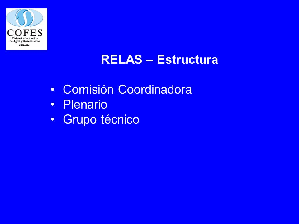 RELAS – Estructura Comisión Coordinadora Plenario Grupo técnico