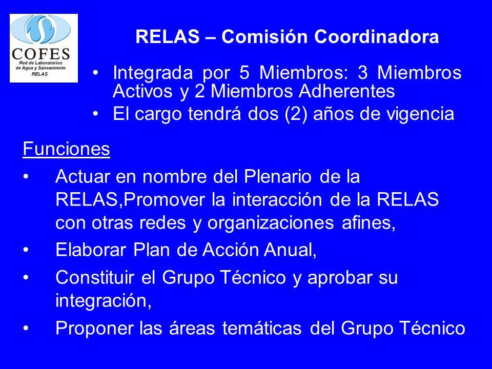 RELAS – Comisión Coordinadora Integrada por 5 Miembros: 3 Miembros Activos y 2 Miembros Adherentes El cargo tendrá dos (2) años de vigencia Funciones