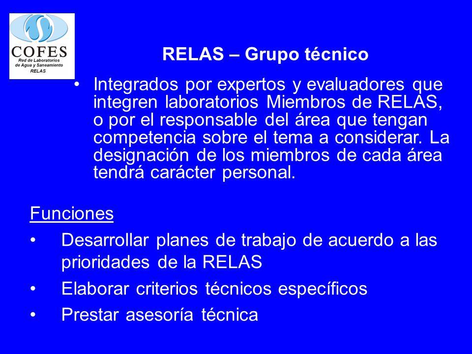 RELAS – Grupo técnico Integrados por expertos y evaluadores que integren laboratorios Miembros de RELAS, o por el responsable del área que tengan comp