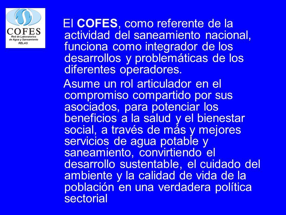 El COFES, como referente de la actividad del saneamiento nacional, funciona como integrador de los desarrollos y problemáticas de los diferentes opera