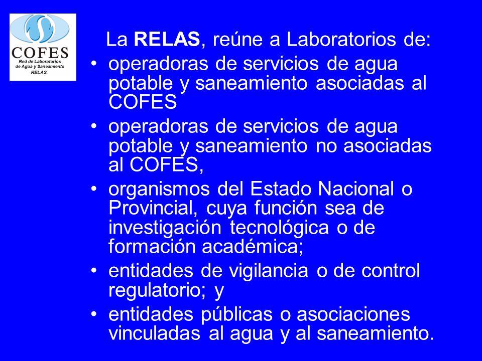 La RELAS, reúne a Laboratorios de: operadoras de servicios de agua potable y saneamiento asociadas al COFES operadoras de servicios de agua potable y