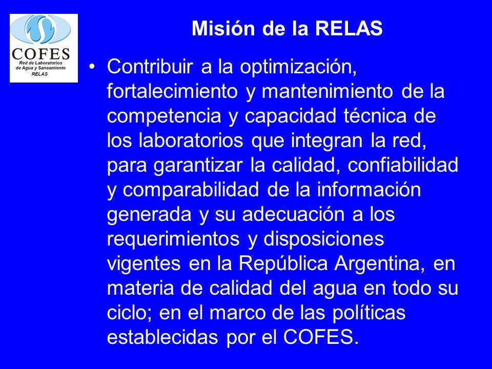 Misión de la RELAS Contribuir a la optimización, fortalecimiento y mantenimiento de la competencia y capacidad técnica de los laboratorios que integra
