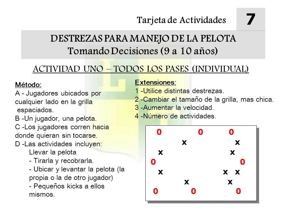 Tarjeta de Actividades 7 DESTREZAS PARA MANEJO DE LA PELOTA Tomando Decisiones (9 a 10 años) ACTIVIDAD UNO – TODOS LOS PASES (INDIVIDUAL) Método: A - Jugadores ubicados por cualquier lado en la grilla espaciados.